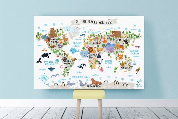Printable Nursery Animal World Map For Kids Room Decor Animal Wall