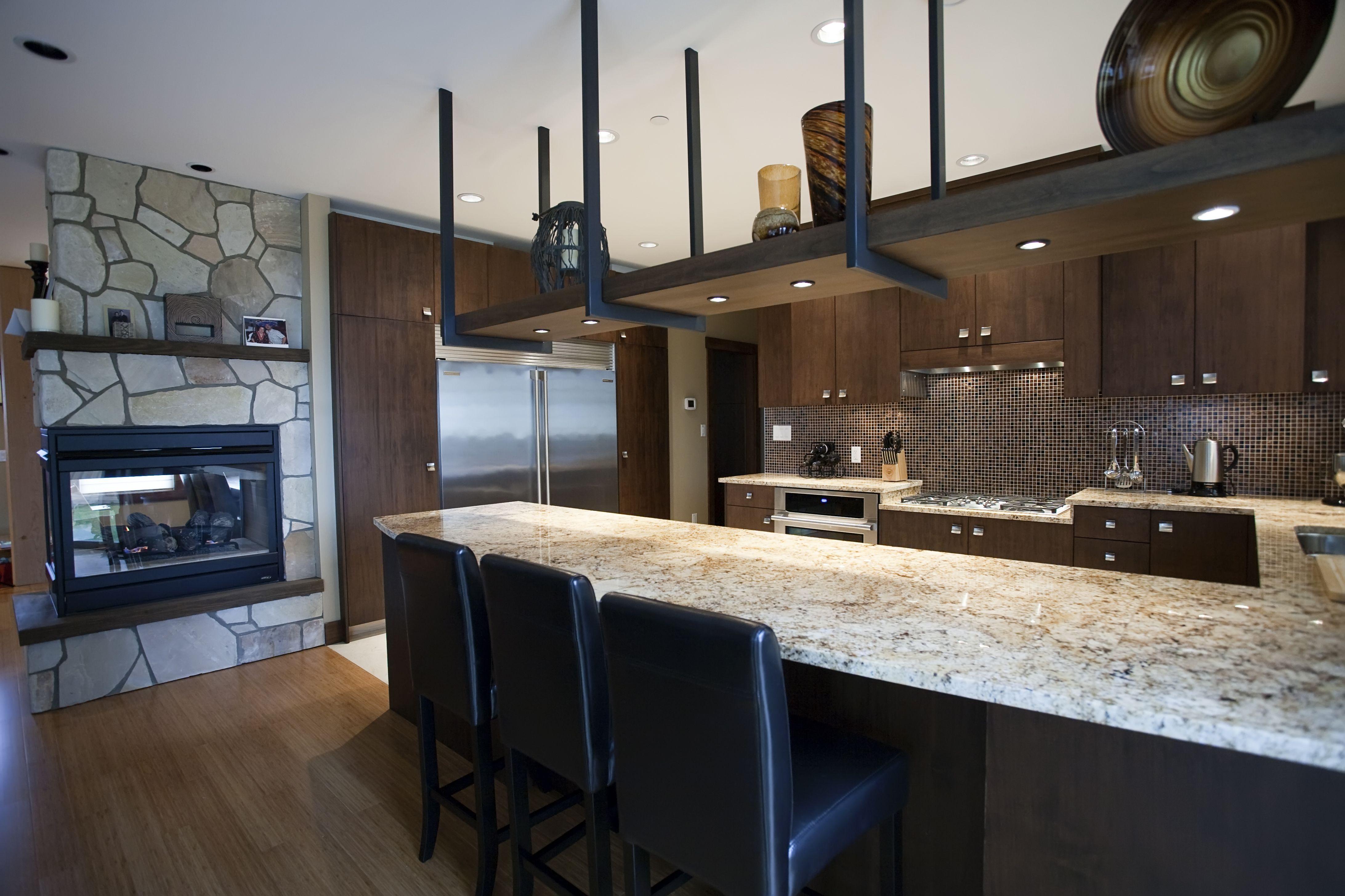 kitchen modern granite. Kitchen With Suspended Shelf - Large Curved Granite Breakfast Bar Electrolux Appliances Modern G