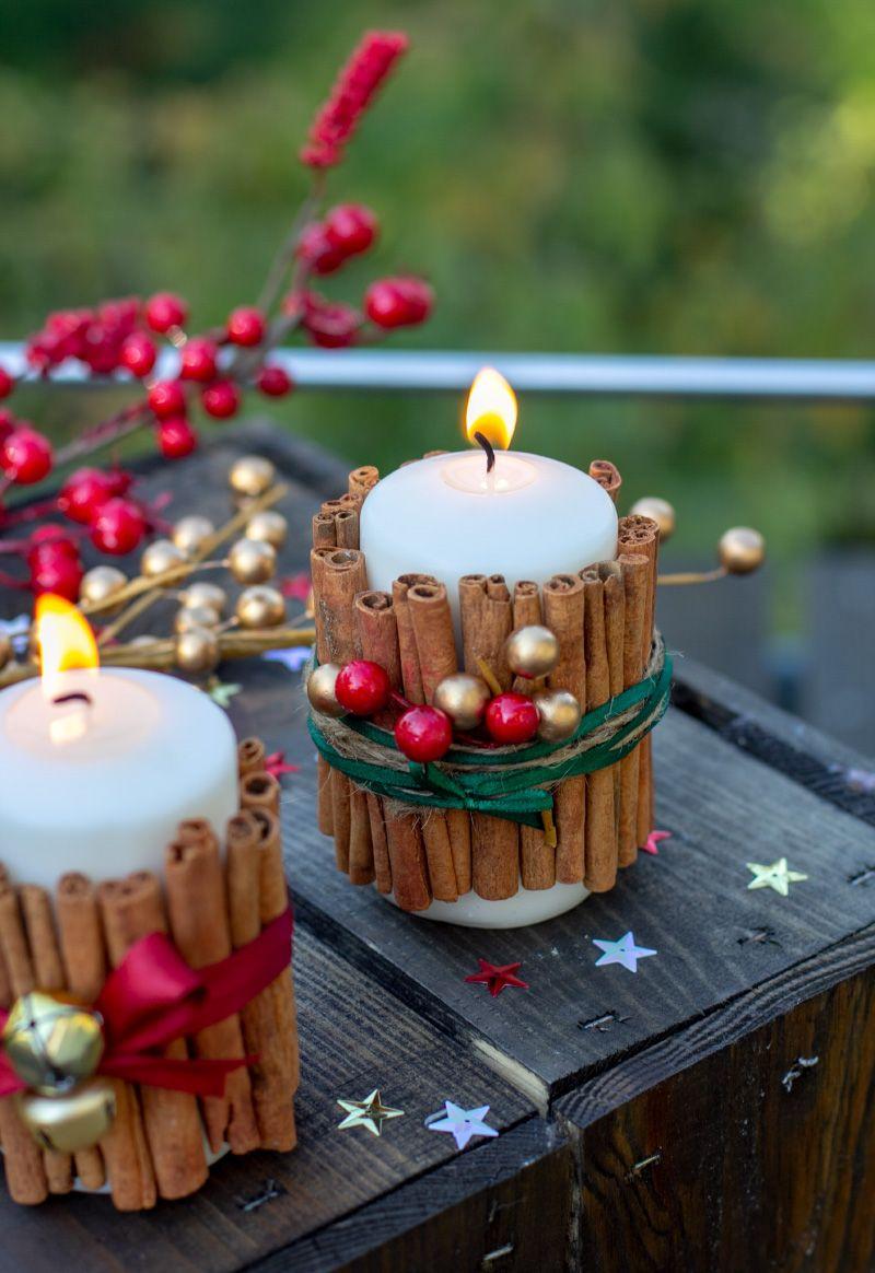 Weihnachtliche Zimtstangen Kerzen Christmas Candle Decorations Christmas Centerpieces Christmas Decorations