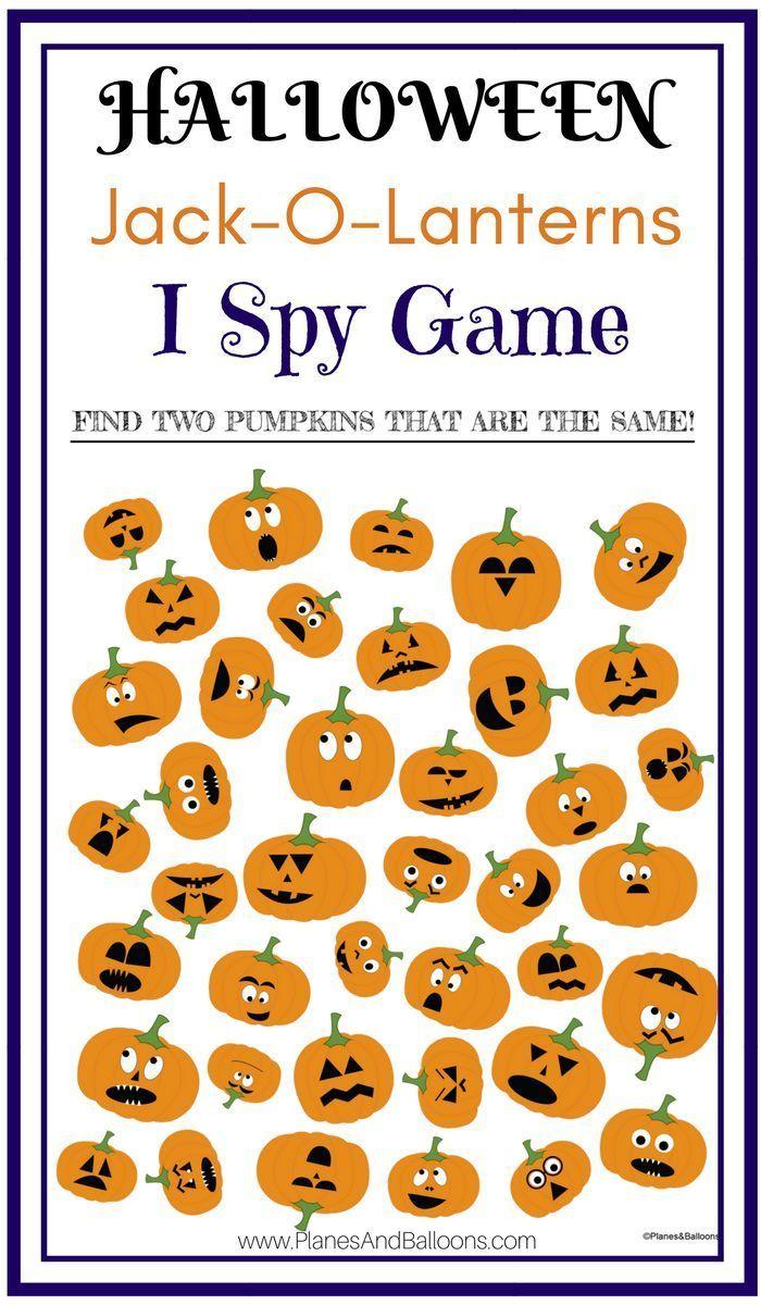 JackOLantern I Spy Printable Worksheets Game For