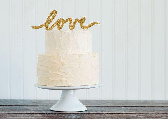 GOLD or SILVER glitter LOVE script wedding cake #caketopper