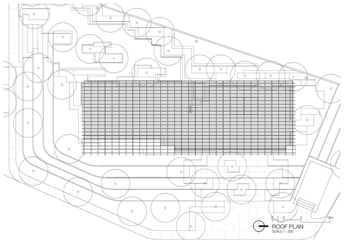 integrated field tops 'it's sara' café with latticed roof canopy Roof plan Ground floor plan