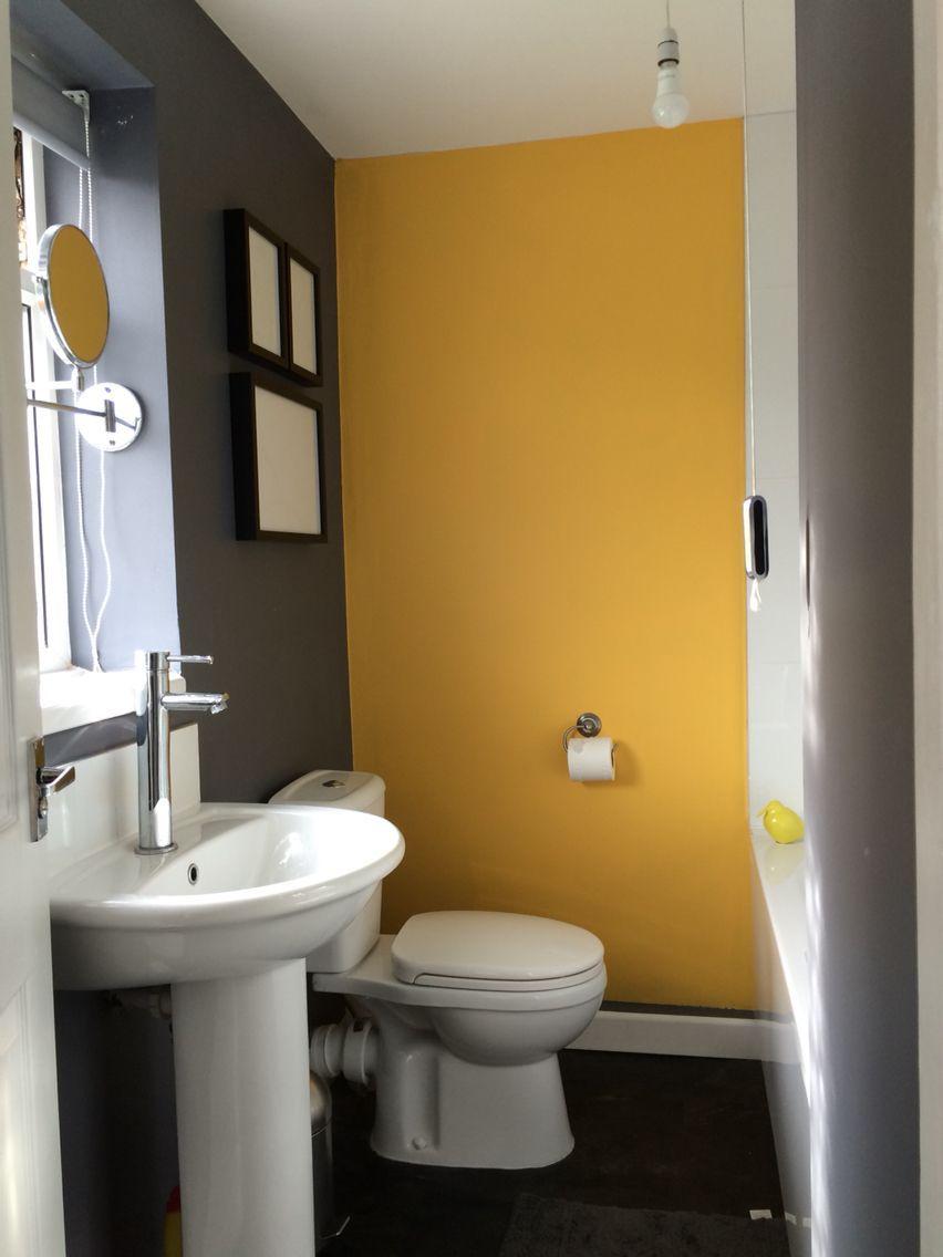 Bathroom Grey Yellow Feature Wall Yellow Bathroom Walls Yellow Bathrooms Grey Bathrooms