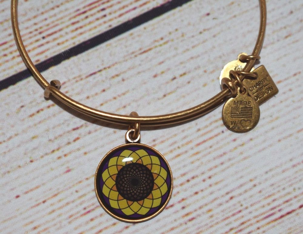 Alex and ani sunflower charm bangle gold bracelet 2015