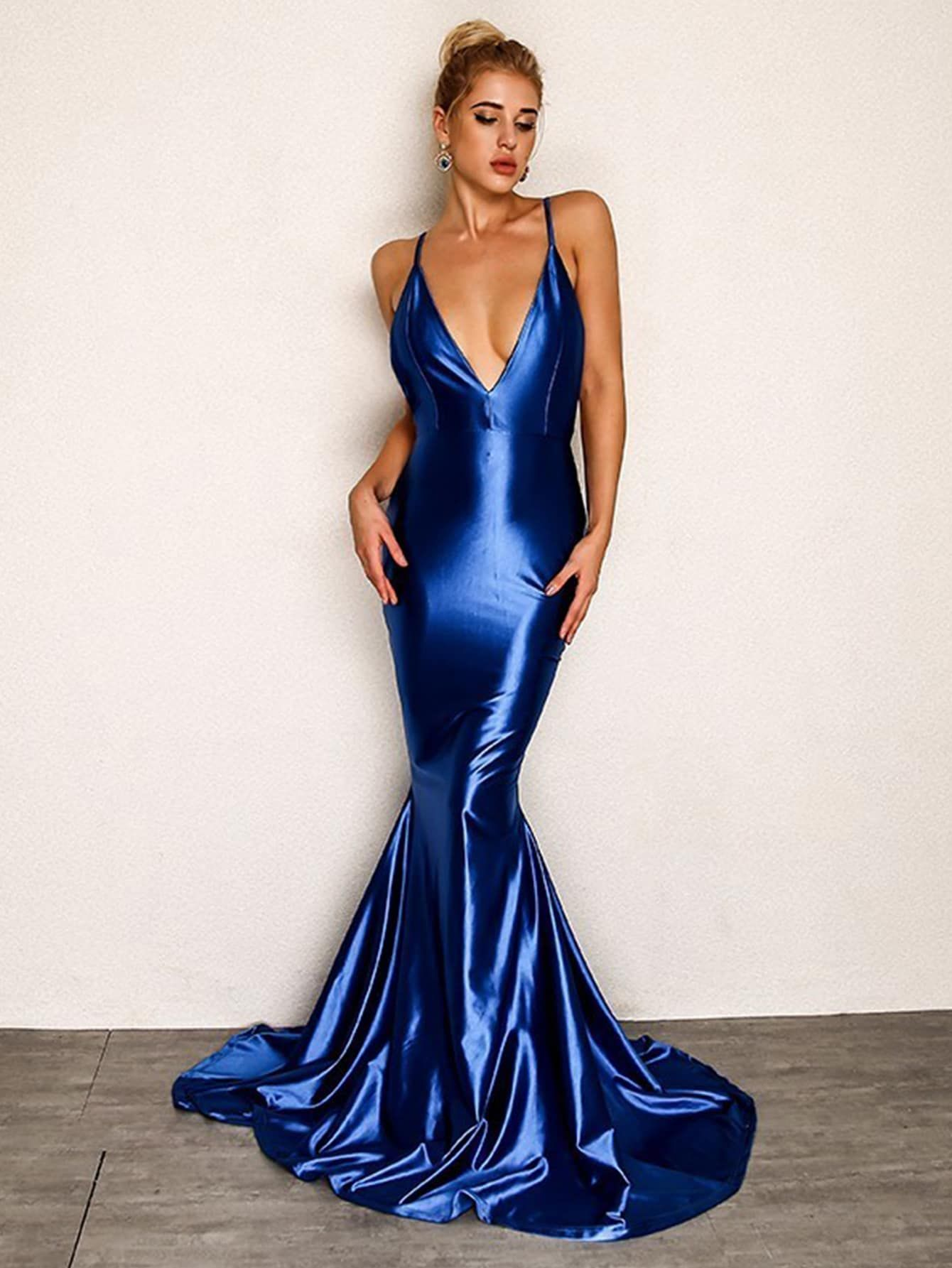 a28cb5c51956 Party Slip Backless and Ruched Plain Bodycon Mermaid Spaghetti Strap  Sleeveless High Waist Blue Maxi Length Joyfunear Open Back Fishtail  Plunging Cami Dress