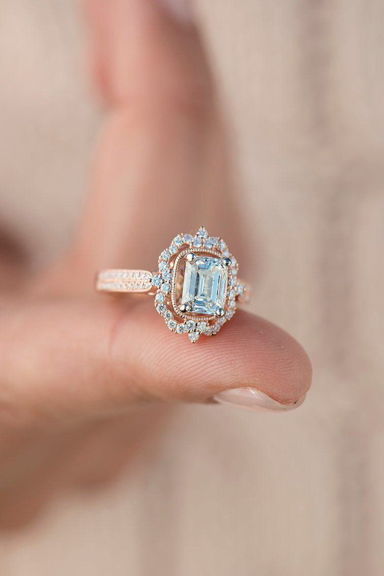 ca2c9404f87c1 Vintage Halo Diamond Engagement Ring in 2019 | Vintage-Inspired ...