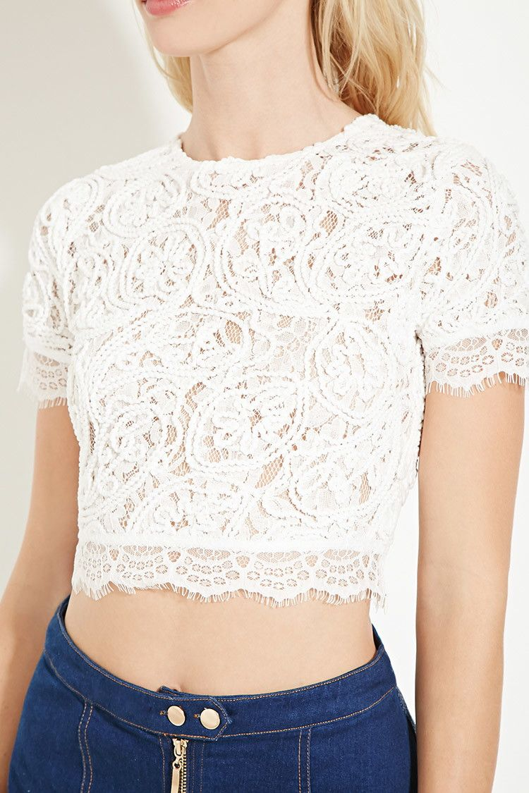 b0581a31cec5a9 Textured Lace Crop Top