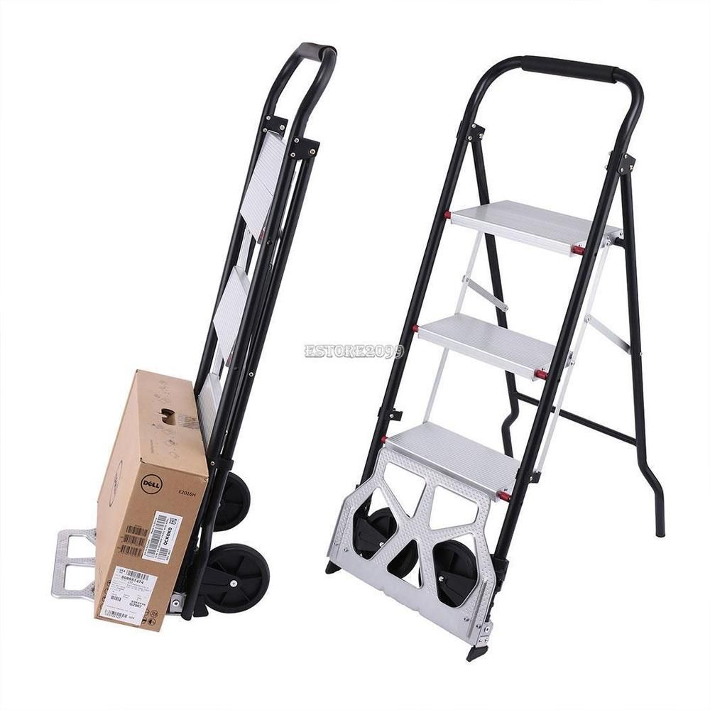 2 in 1 Folding Steel Trolley Hand Truck Furniture Dolly Step