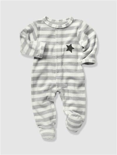 Pyjama velours Bio Collection nouveau né dès 45cm BEIGE POUDRE RAYE+BLANC+GRIS  CLAIR RAYE - vertbaudet enfant f3ba344c93d