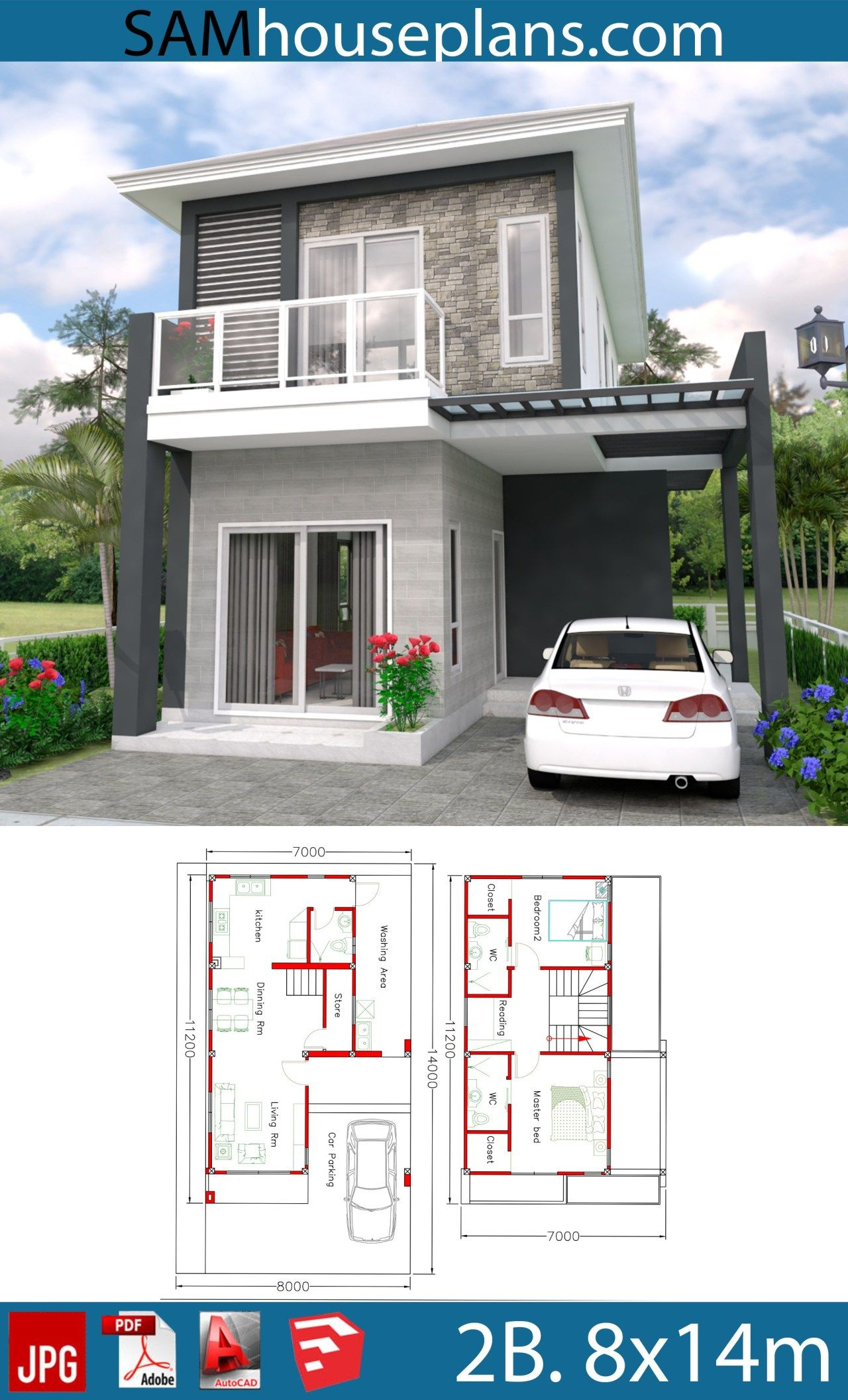 House Plans 8x14m With 2 Bedrooms Sam House Plans Minimal House Design Model House Plan House Plans