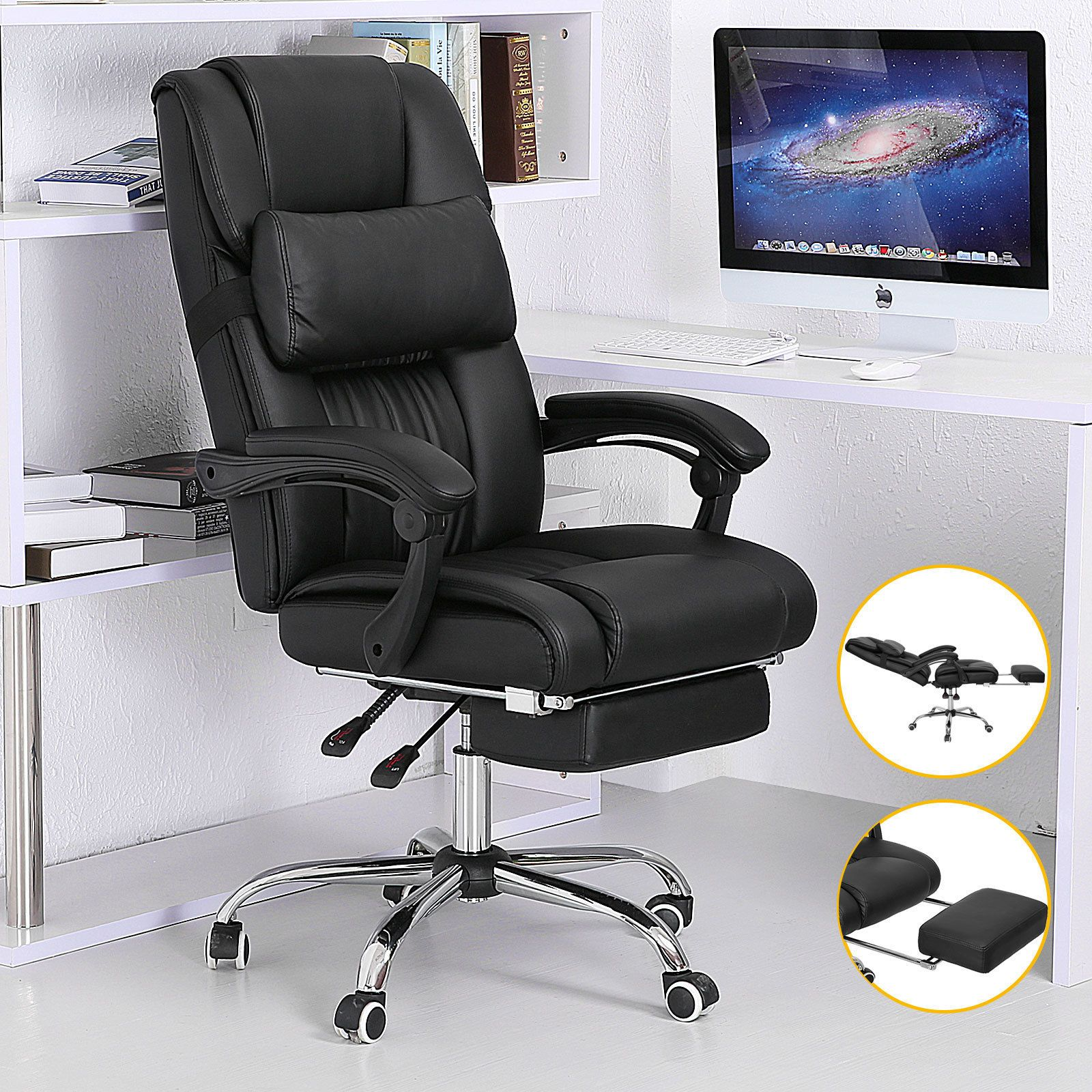 Cool Executive Reclining Office Chair Ergonomic High Back Leather Footrest Armchair Check More At
