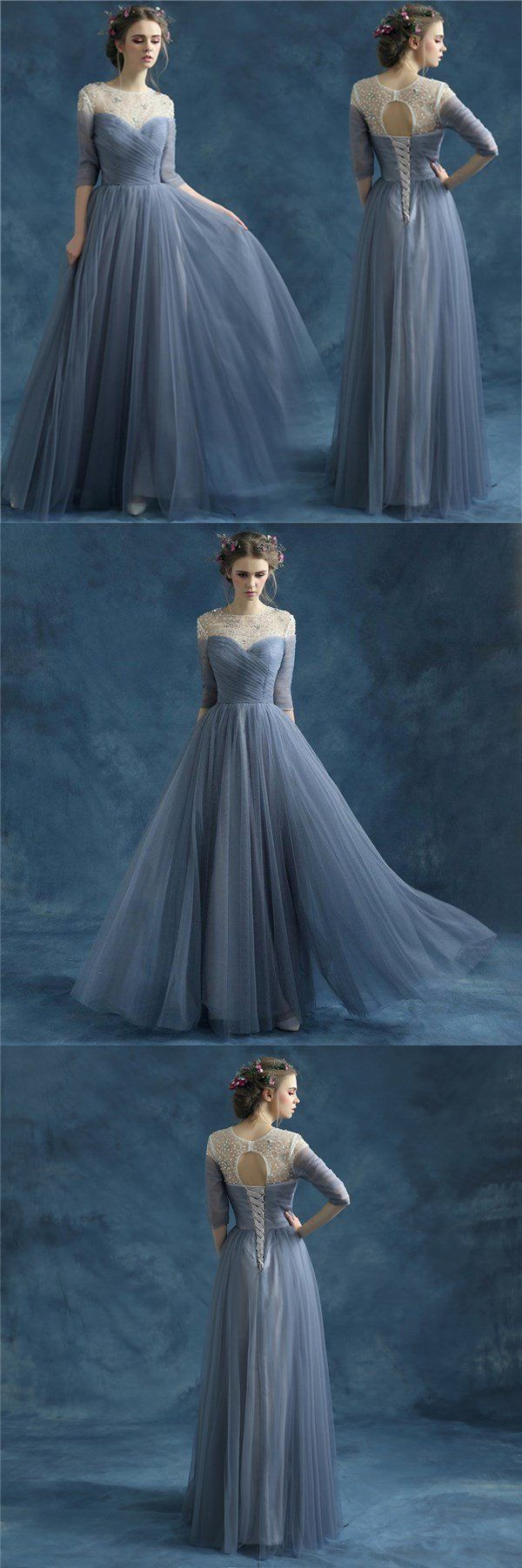 New arrival evening formal bridesmaid dress blue grey wedding dress