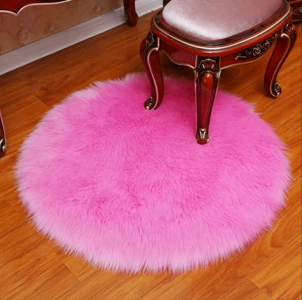Faux Fur Hot Pink 3 Feet Round Rug Faux Sheepskin Rug Round Rugs Sheepskin Rug