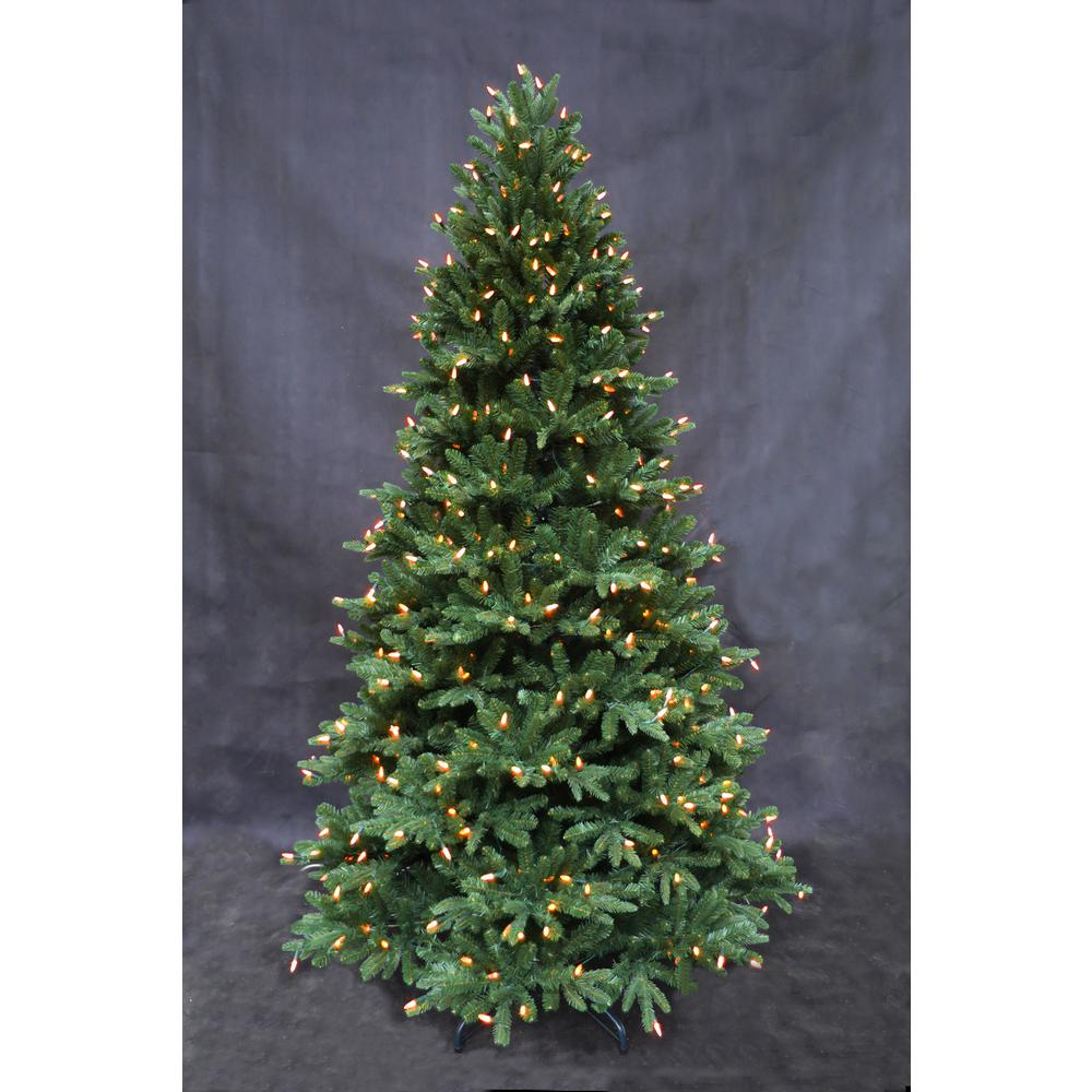 Home Accents Holiday 7 5 Ft Pre Lit Led European Fir Tree 015007550026052 The Home Depot Led Lights Home Accents Artificial Christmas Tree