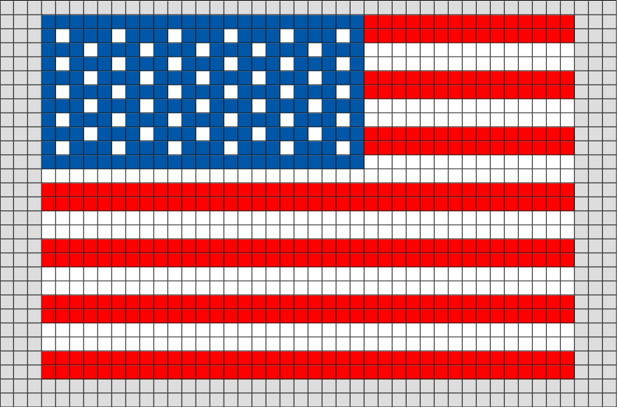 Flag Of United States Minor Outlying Islands Pixel Art