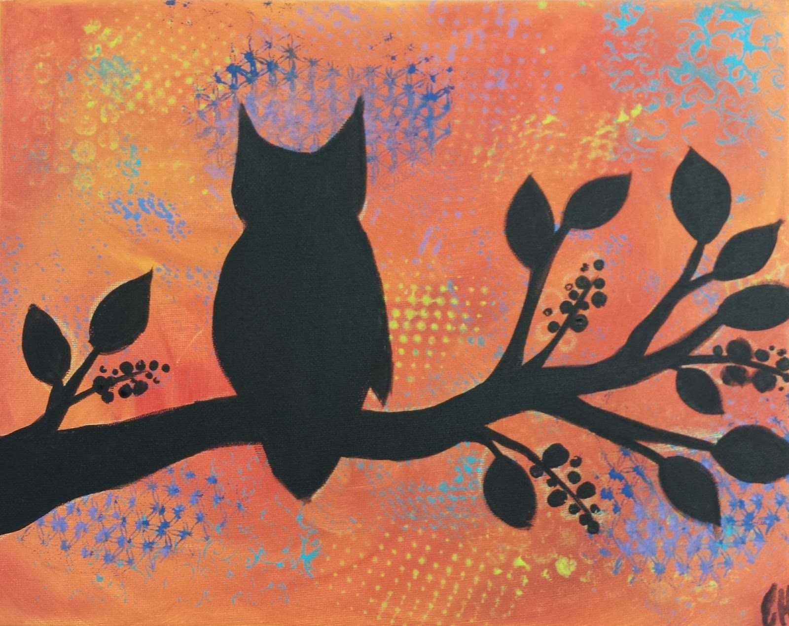 My Art Class Started Our New Fall Session With This Owl Silhouette Painting We Did An Abstract Background In Sunset Colors And Then O