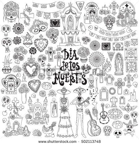 Day Of The Dead Festival Doodles Set Traditional Mexican Symbols
