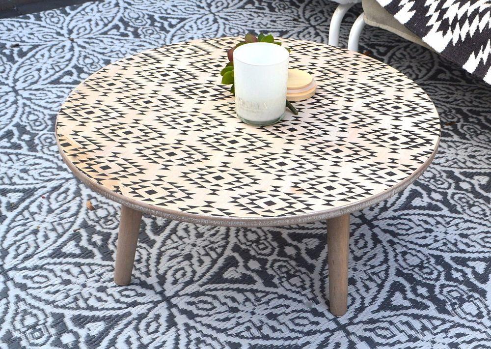 Sch Ner Vintage Look Tisch Beistelltisch Gartentisch Balkontisch Aus Holz  Rund