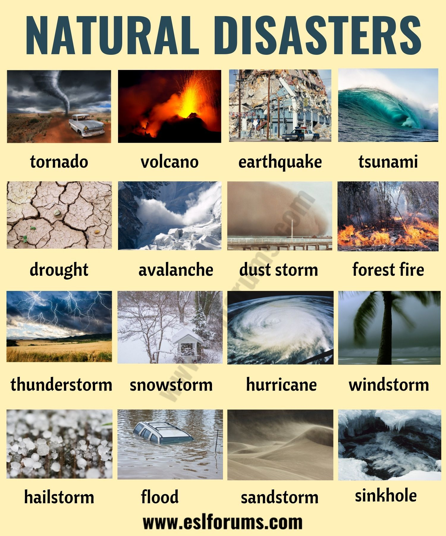 Natural Disasters Different Types Of Natural Disasters With Esl Pictures Natural Disasters English Teaching Materials Natural Disasters Lessons