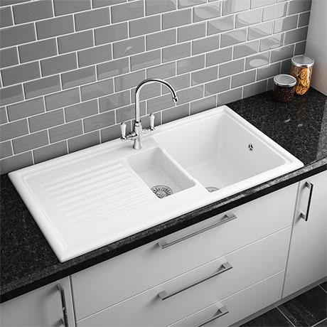 Reginox White Ceramic 1 5 Bowl Kitchen Sink At Victorian Plumbing Uk White Ceramic Kitchen Sink Ceramic Kitchen Sinks White Kitchen Sink