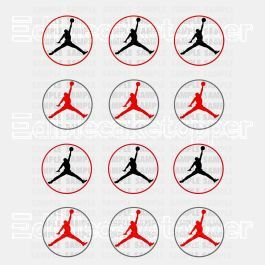 Jordan Jumpman Edible Cupcake Toppers (12 Images) Cake Image Icing Sugar Sheet Edible Cake Images #pictureplacemeant