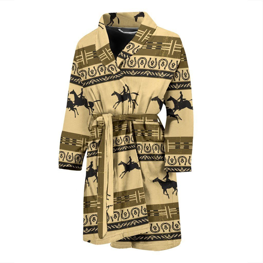 Horse Pattern Print Men Bathrobe #horsepattern