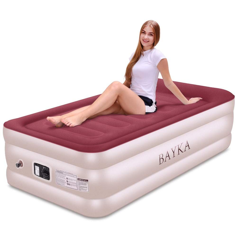 Bayka Twin Air Mattress With With Built In Pump And Pillow Raised Elevated Double High Airbed For Guest Pink Blow Up In 2020 Twin Air Mattress Air Bed Air Mattress