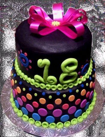 Ladiesgirls 18th Birthday cakeneonbutter cream icingfondant