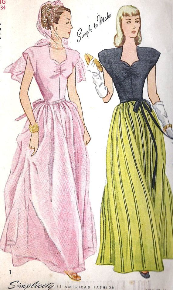 1940s Misses Evening Gown Ball Gown | Old Patterns | Pinterest ...