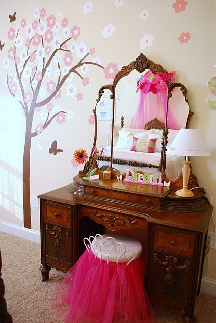 Girls Bedroom Vinyl Wall Decor Home Pinterest Vinyls Vanity Stool And