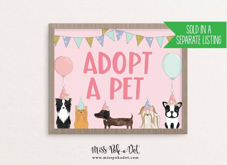 Pet Adoption Certificate Printable Dog Birthday Party Adopt Etsy Dog Birthday Party Puppy Adoption Dog Birthday Invitations