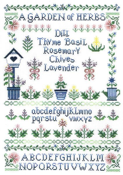 A Garden of Herbs - Dill, Thyme, Basil, Rosemary, Chives, Lavender.