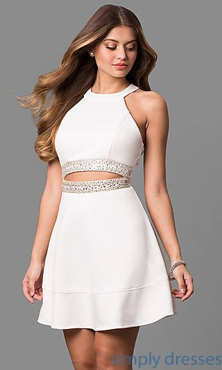 8eb88fb60 Shop ivory white short graduation party dresses at Simply Dresses.  High-neck semi-formal white scuba dresses under $100 with beading and cut  outs.
