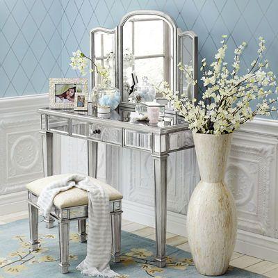 Merveilleux Hayworth Mirror U0026 Vanity   Silver