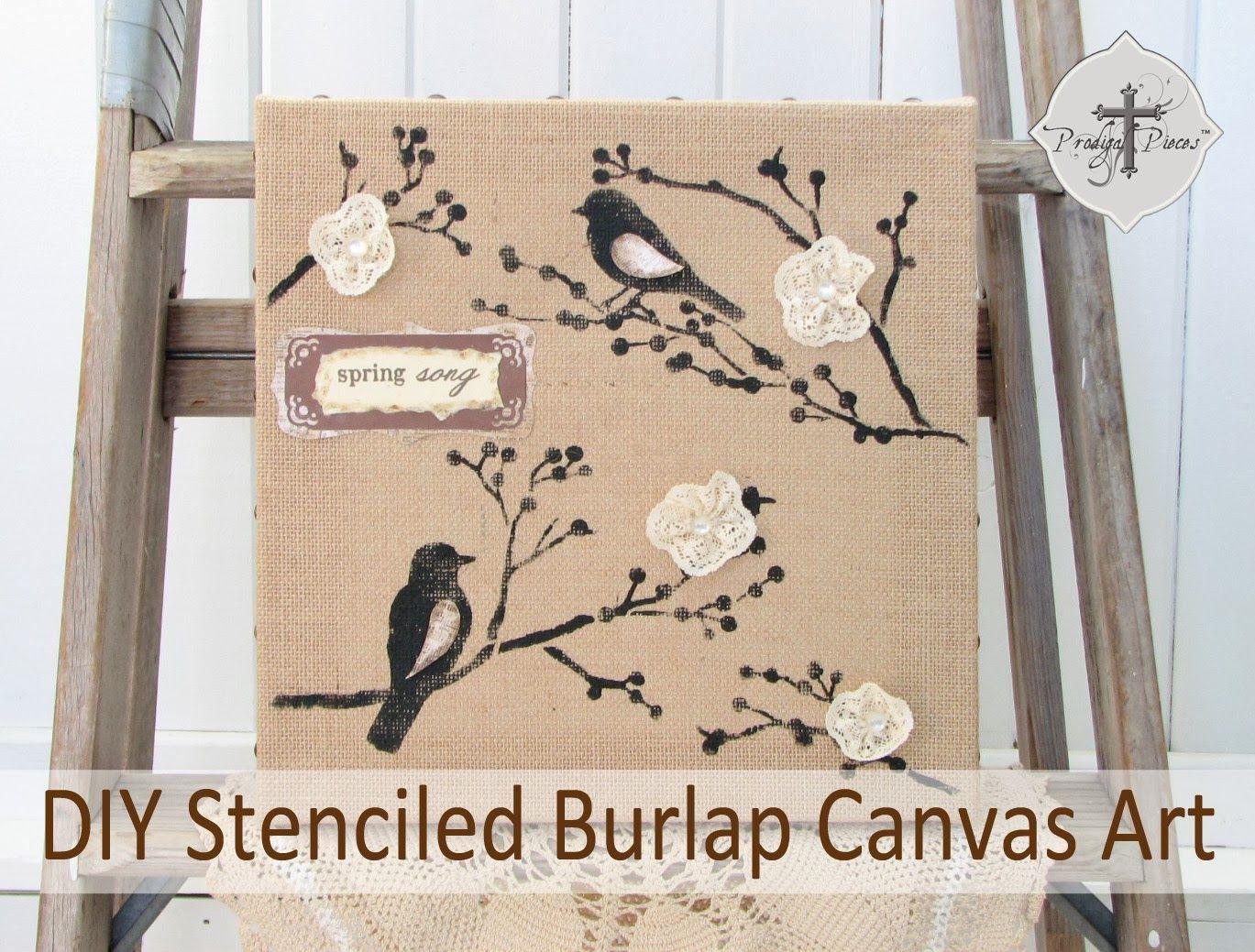Michaels & Hometalk Pinterest Party: DIY Stenciled Burlap Canvas Art ...