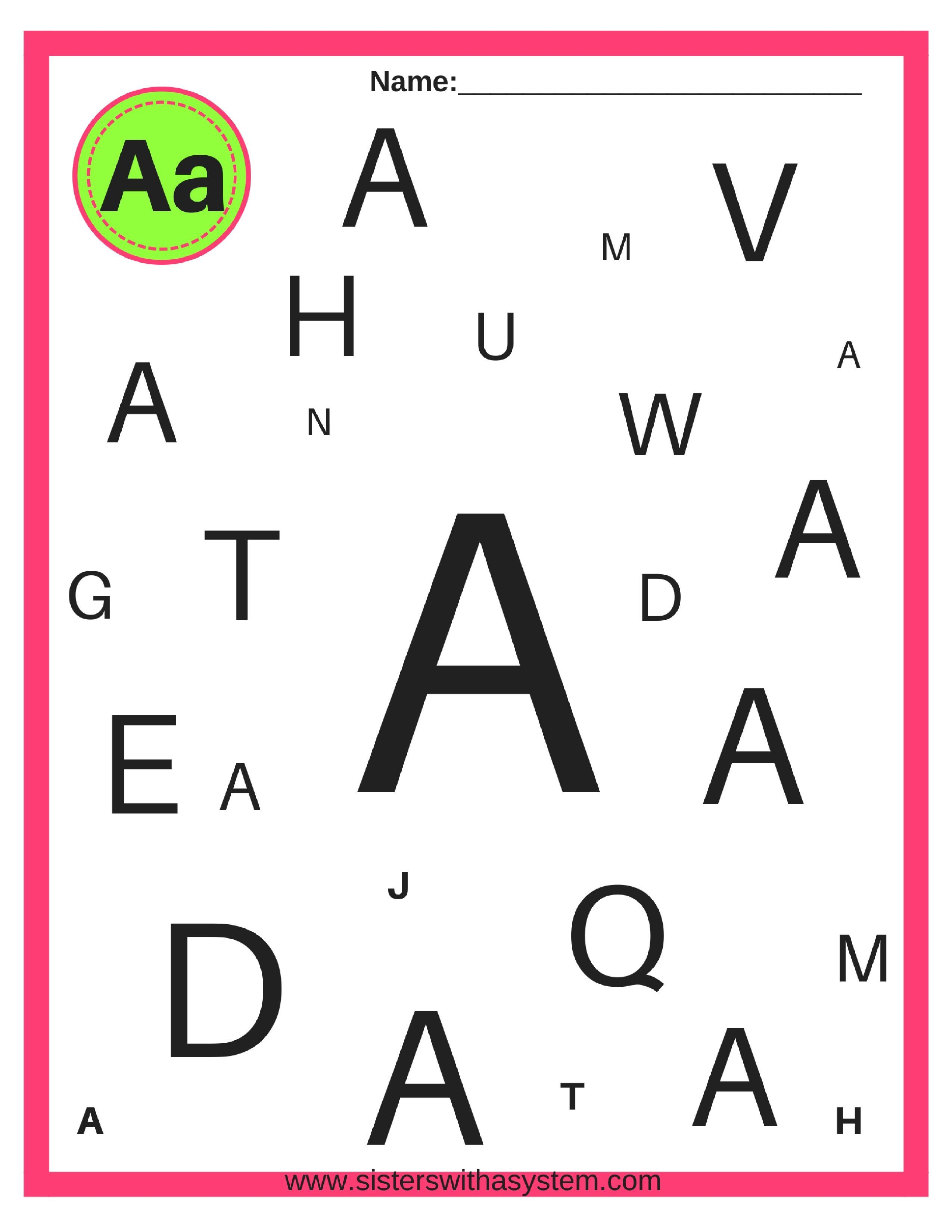 Alphabet Look And Find Sheets In With Images