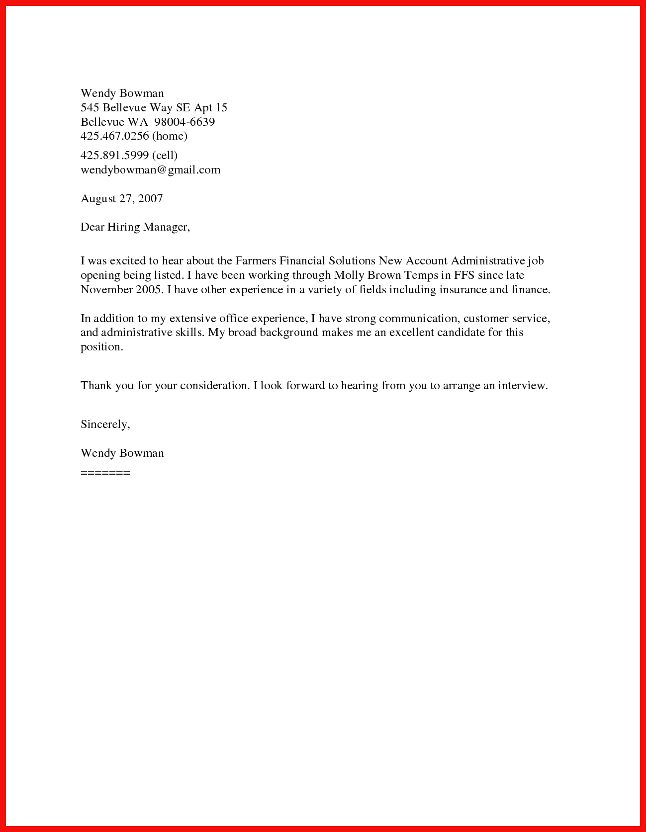 Short Cover Letter Sample Apa Example