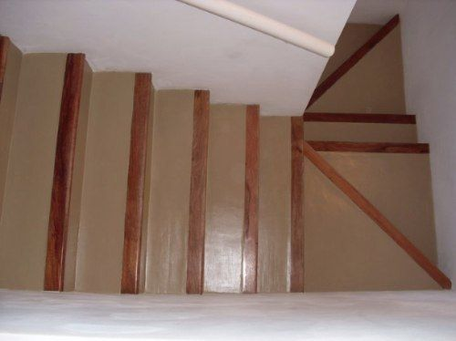 cemento ocre con nariz de madera Escalera Pinterest Nariz - escaleras de madera rusticas