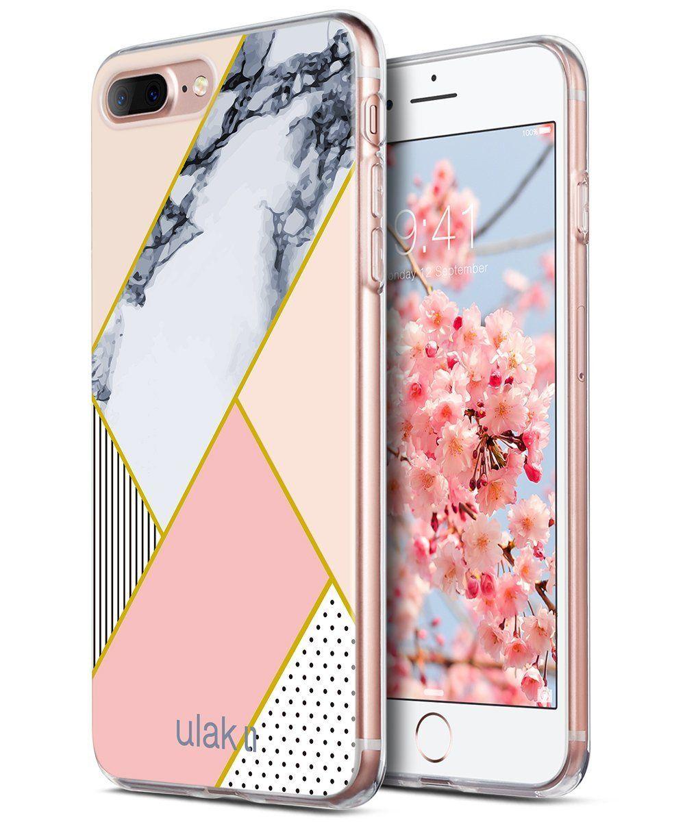 hot sale online c2822 144db iPhone 8 Plus Case, iPhone 7 Plus Case, ULAK Pink Geometric Marble ...