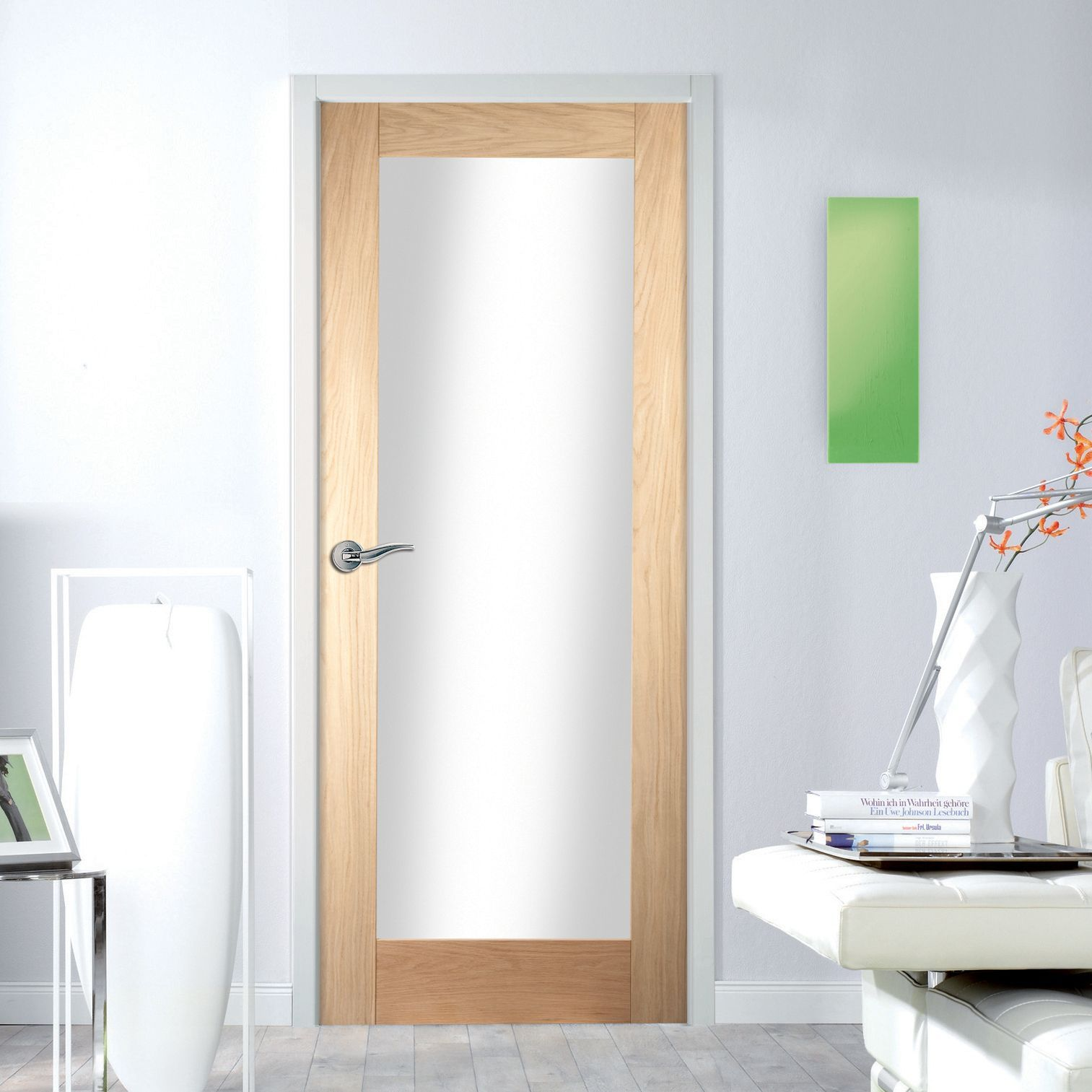 1 Panel Shaker Oak Veneer Glazed Internal Standard Door H 1981mm W 610mm In 2020 Internal Doors Veneers Shaker Doors