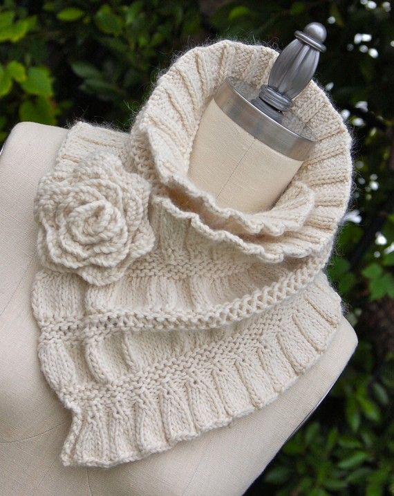 Ruffled and Ruched Scarf PDF Knitting Pattern Instant Download Scarf patter...