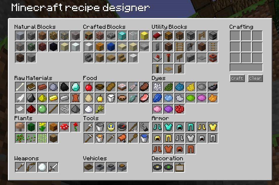 Minecraft Recipe Designer | Minecraft | Pinterest ...