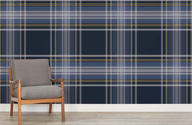 Pattern Wallpaper Patterned Wallpaper Murals Wallpaper Blue Living Room Tartan Wallpaper Plaid Wallpaper