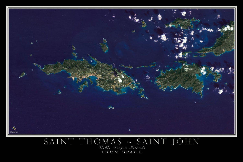 Saint Thomas And Saint John U S Virgin Islands Satellite Poster Map