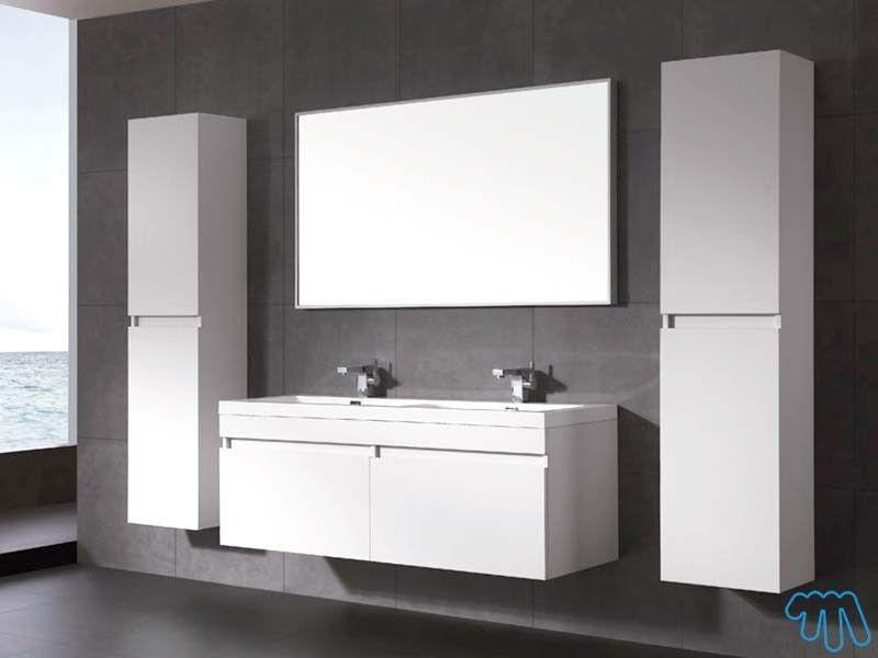 armoire haute blanc laqu colonne salle de bain gauche lob