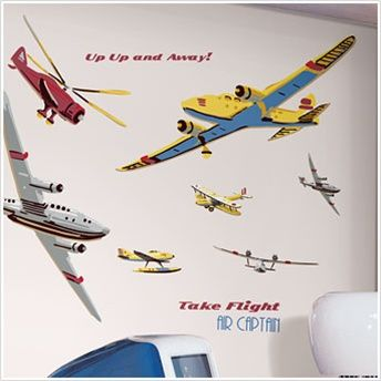 Vintage Airplanes Wall Decals For Boys Rooms   Removable Wall Stickers And  Borders   Large Vintage Airplanes Peel And Stick Applique   Aviation Wall  ...