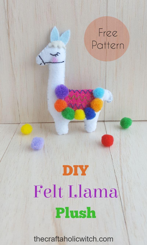 hand-sewn and stuffed blue felt hanging decoration Drama llama