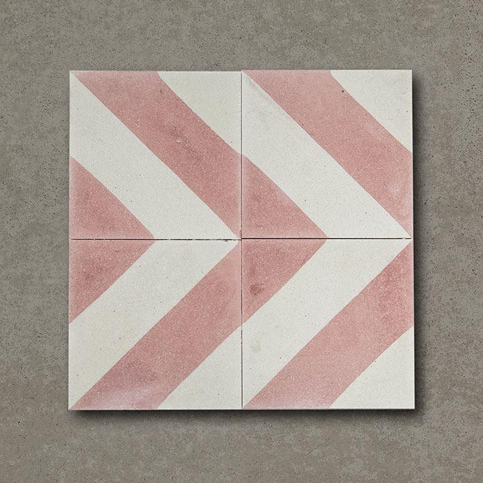 Cross Stripe Pink Handmade Encaustic Cement Floor Tile   Otto Tiles & Design   Encaustic ...