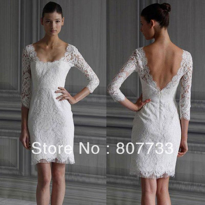 sexy square front neck open v back lace long sleeve short