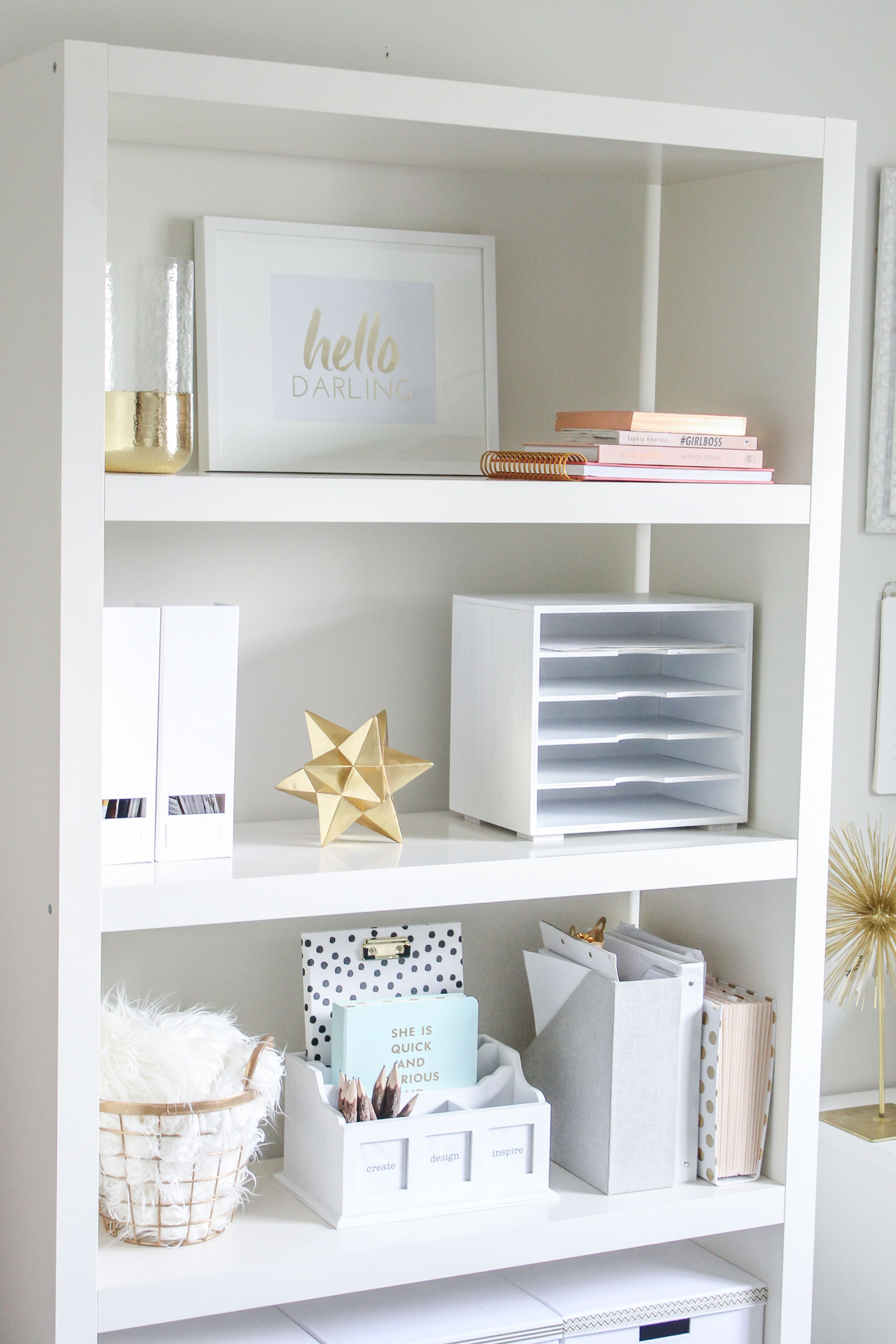 White with gold office looks very calming! - Tap the link now to Learn how I made it to 1 million in sales in 5 months with e-commerce! I'll give you the 3 advertising phases I did to make it for FREE! -   22 desk decor shelves